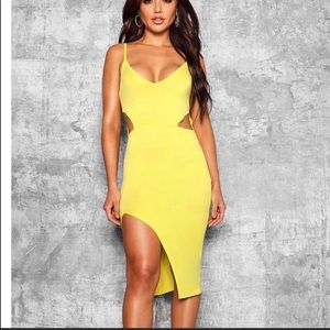 Cut out thigh split mini dress